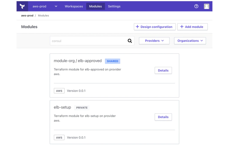 private module registry