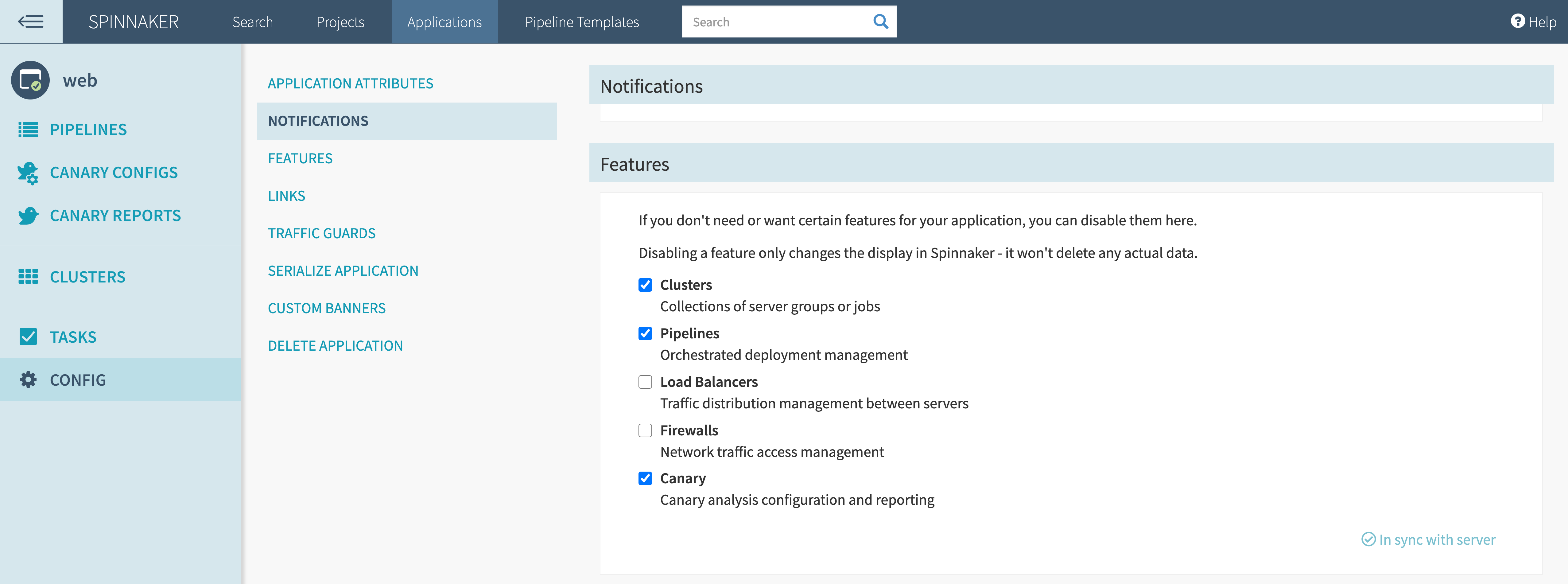 Enable the canary feature under Spinnaker application