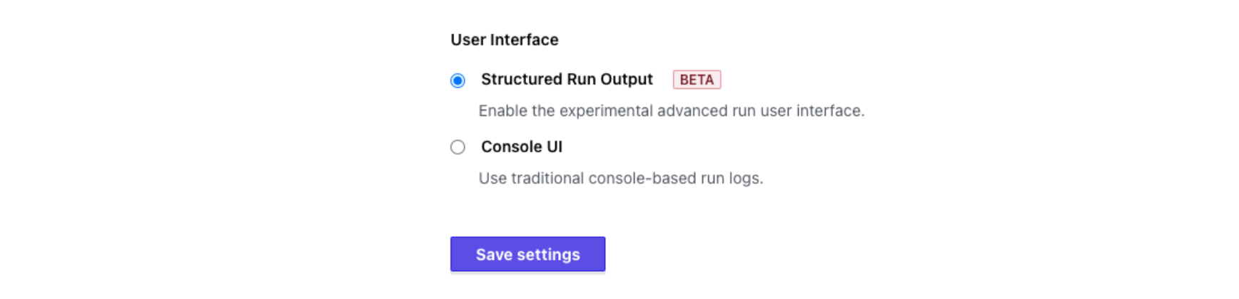 Save settings for user interface