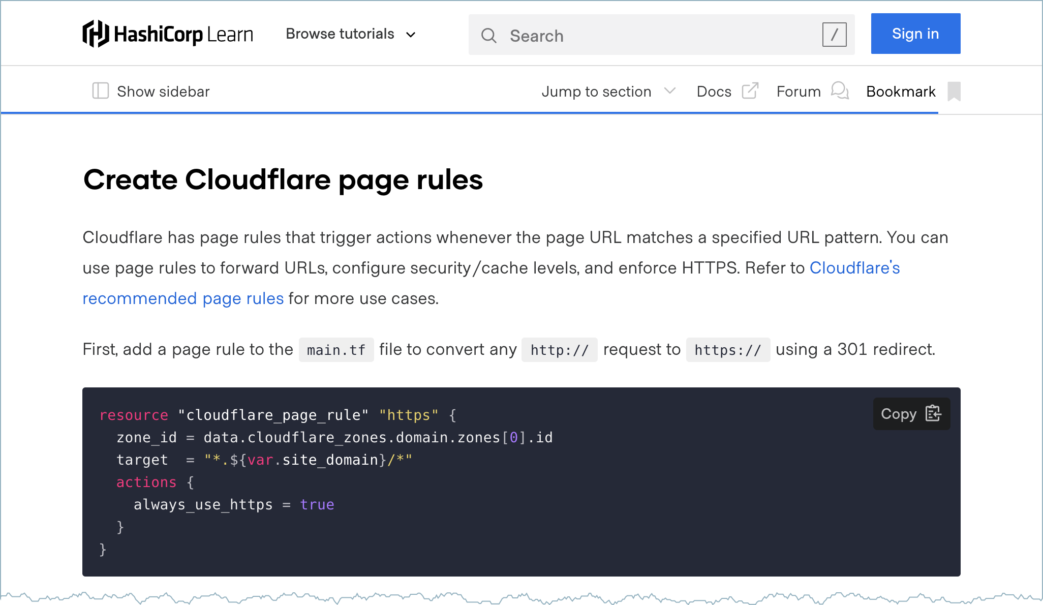 Static page creation with Cloudflare and Terraform tutorial.