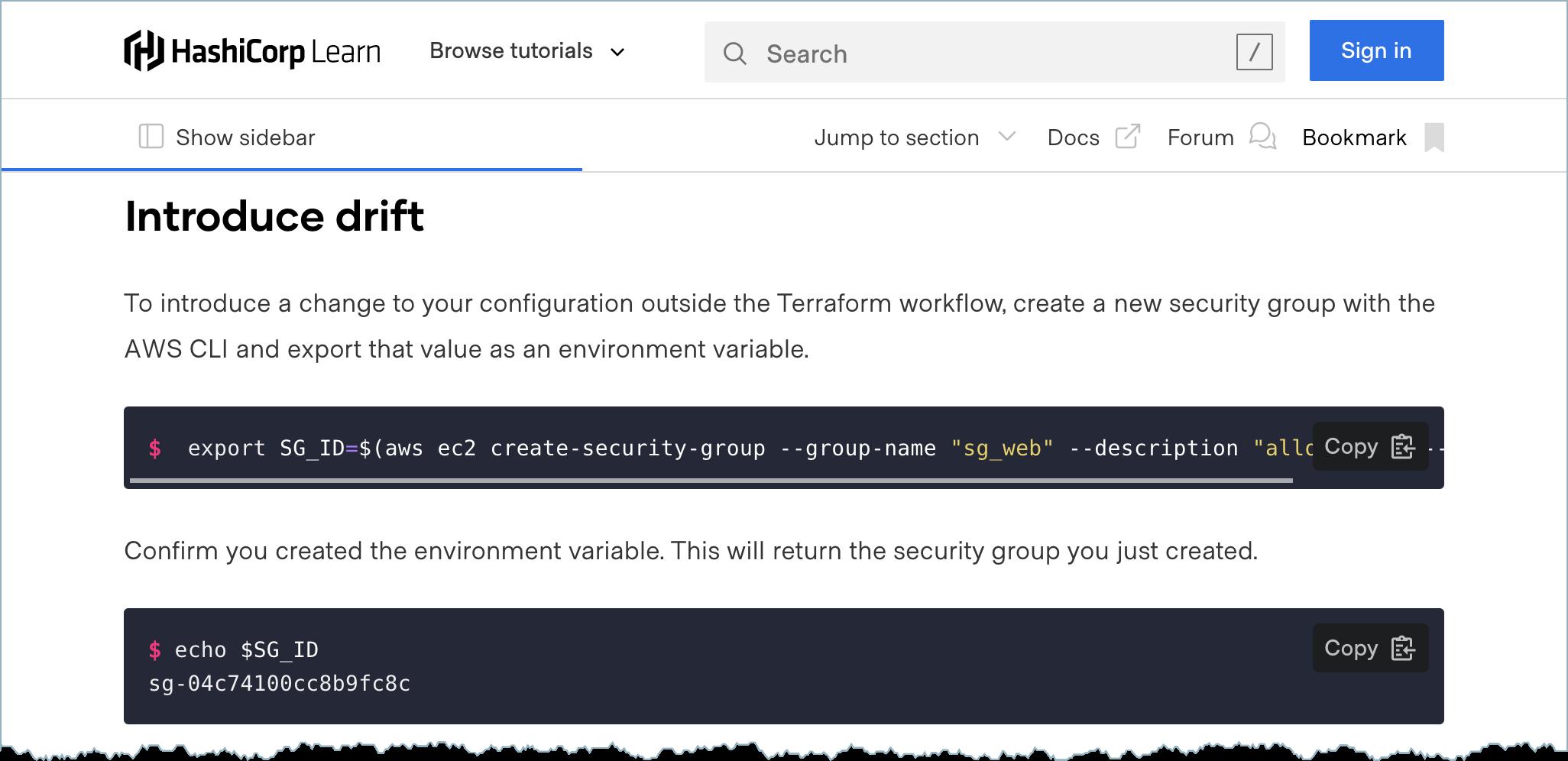 Configuration drift tutorial for HashiCorp Terraform