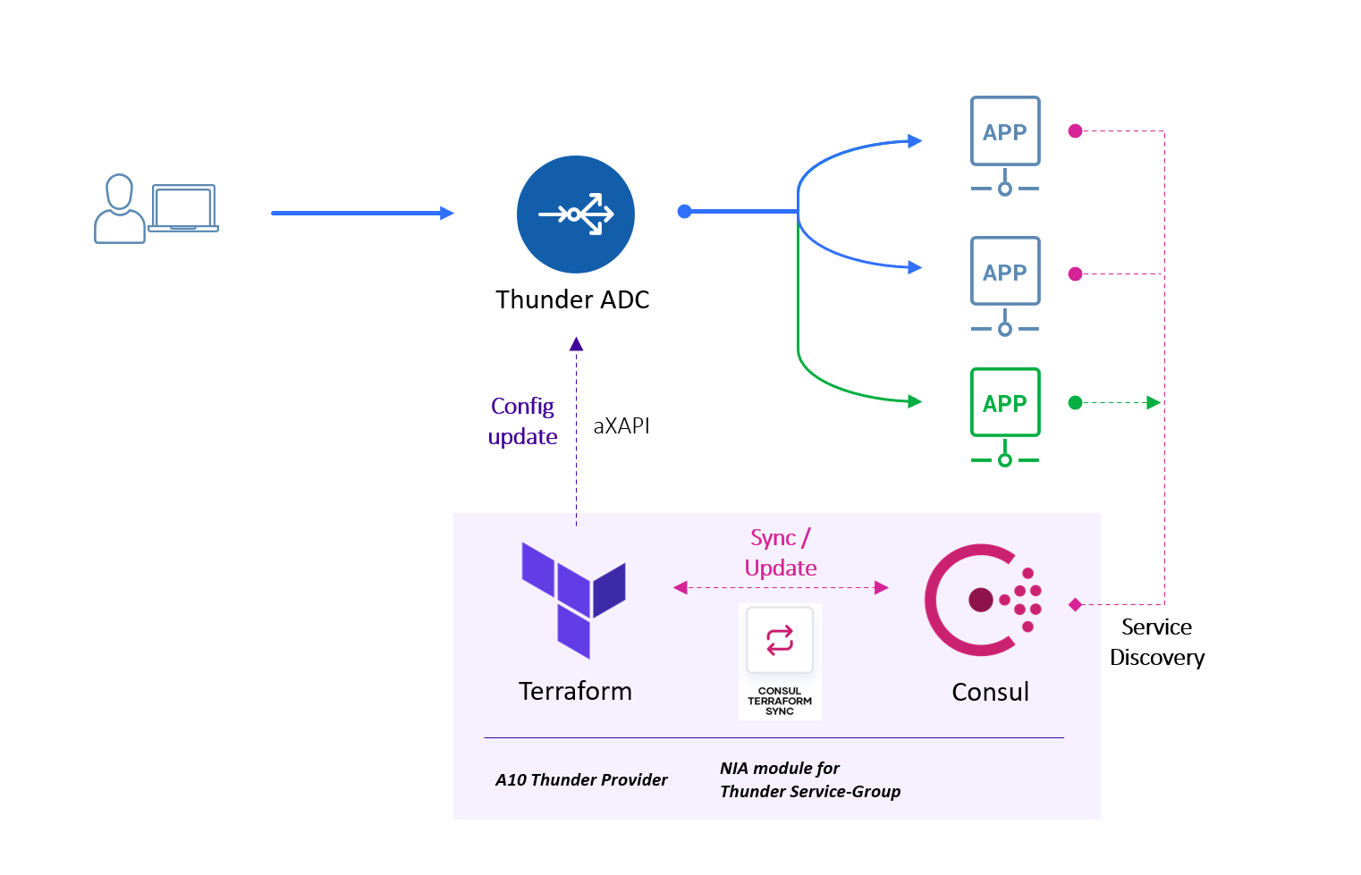 Example NIA workflow with Terraform, Consul, CTS, and Thunder ADC.