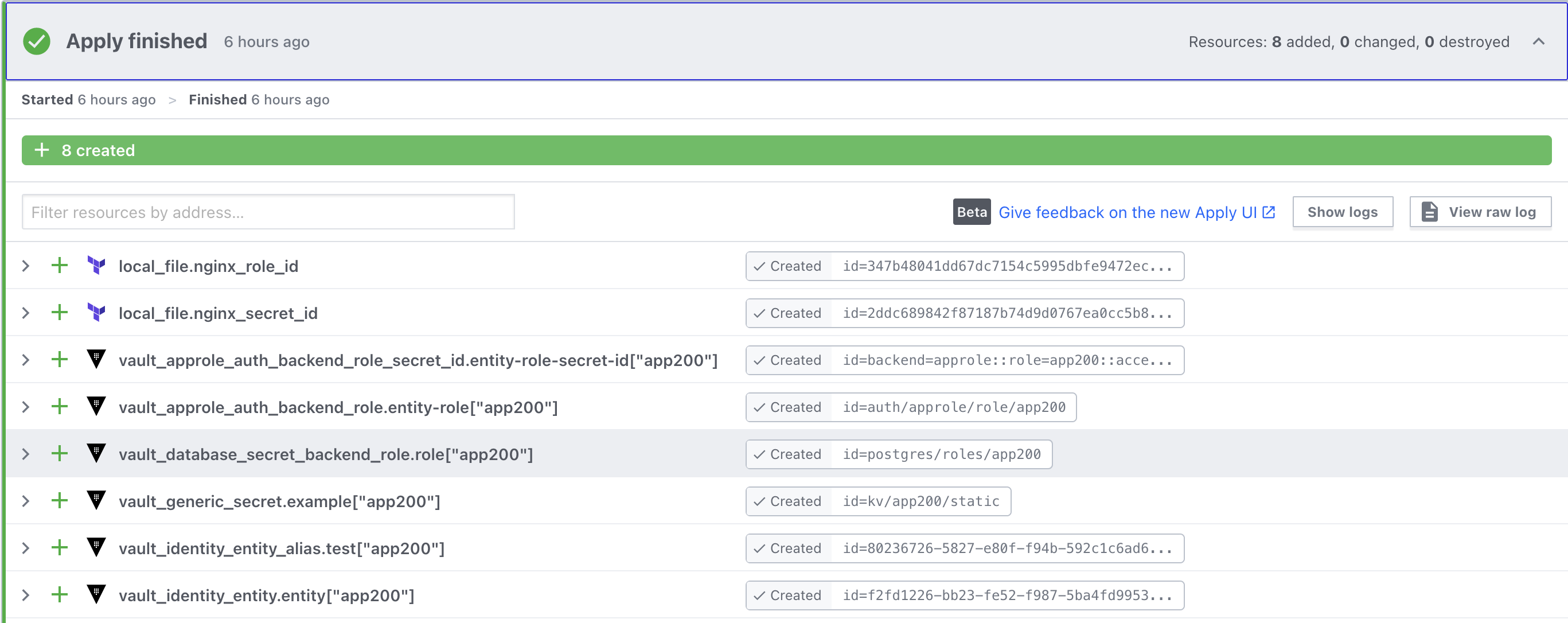 Terraform Cloud  UI showing app200 related resources being created