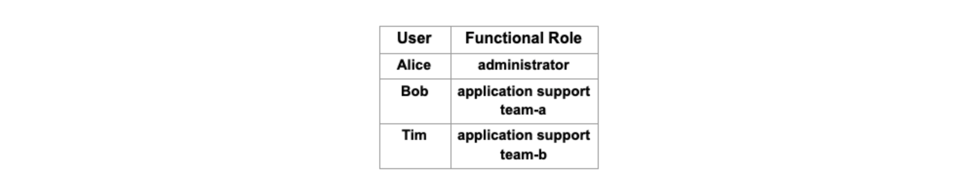 User functional role chart