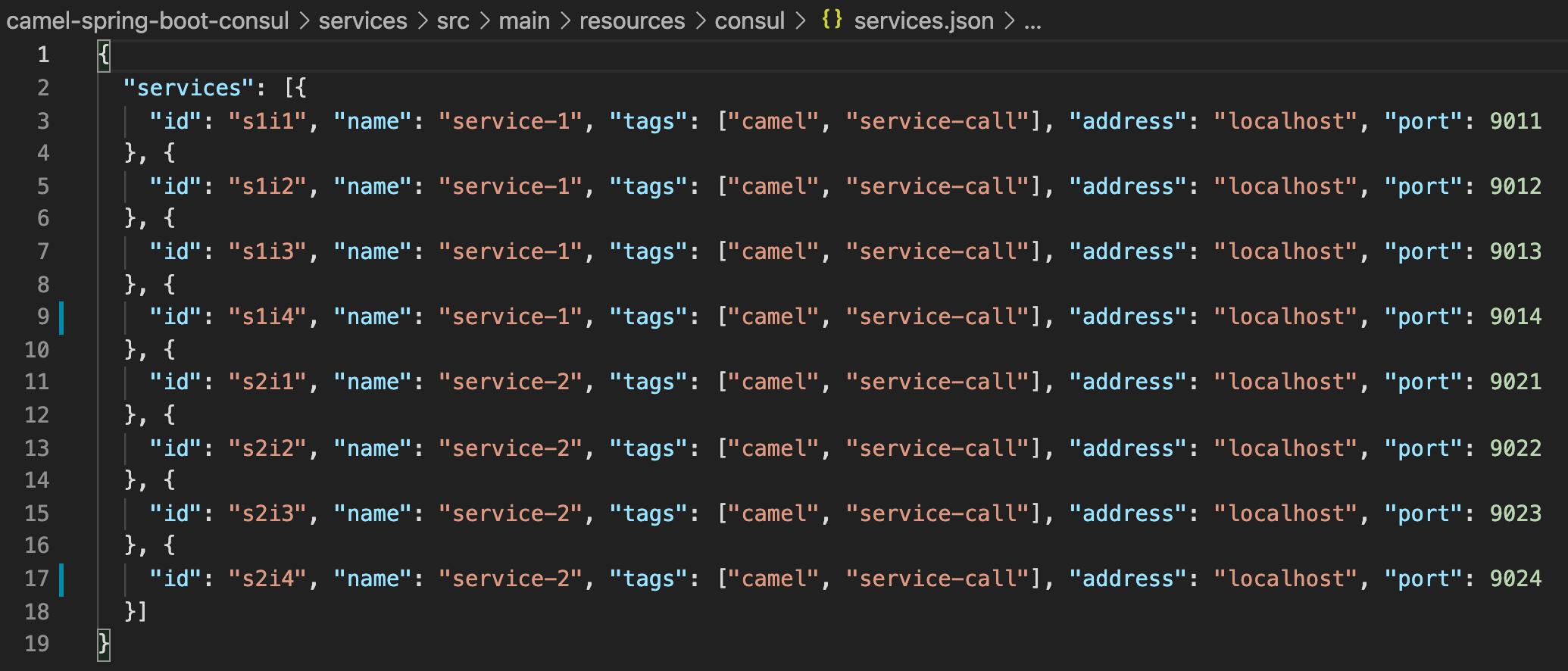 Consul services.json file
