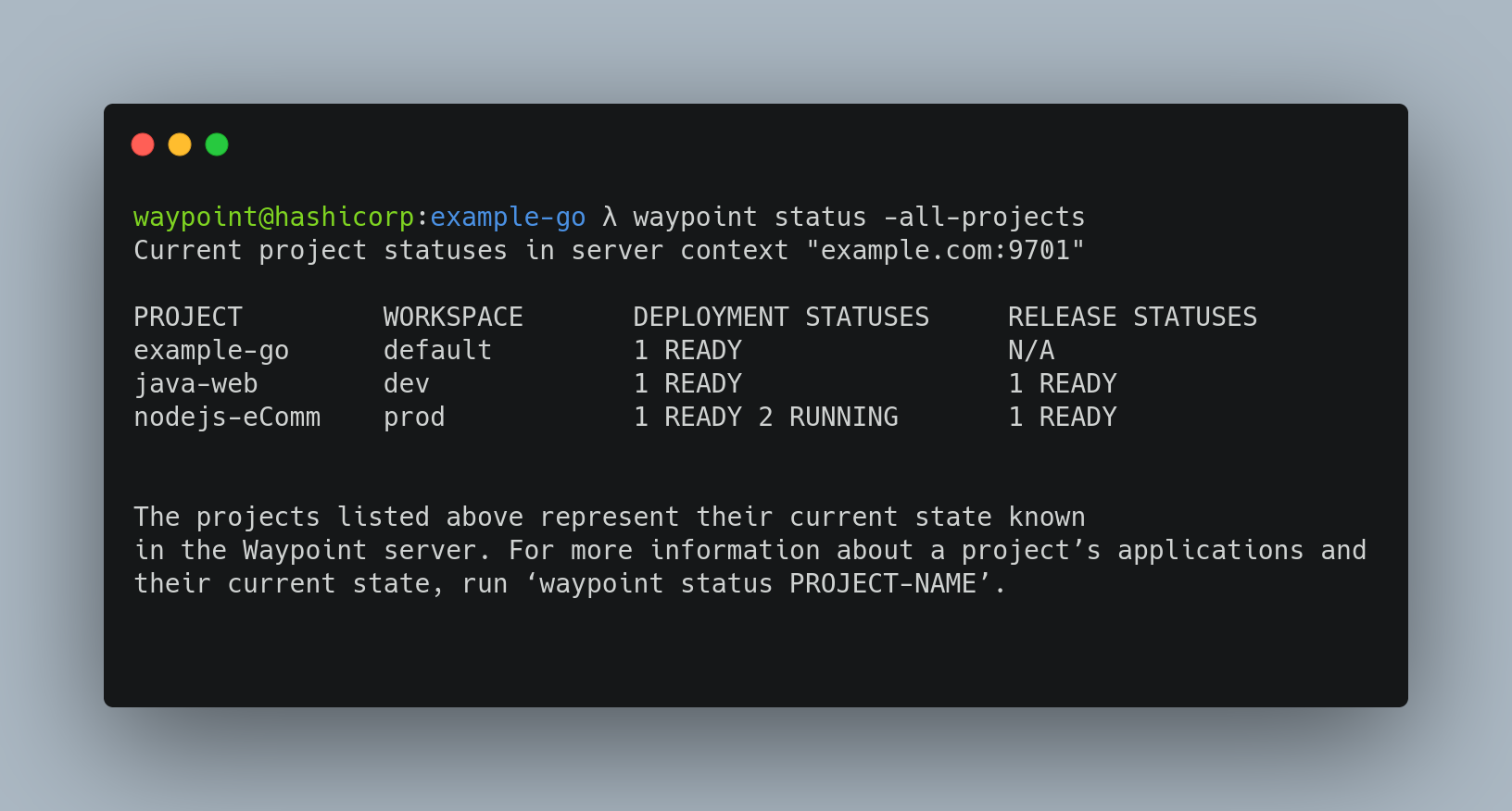 Waypoint status for all projects