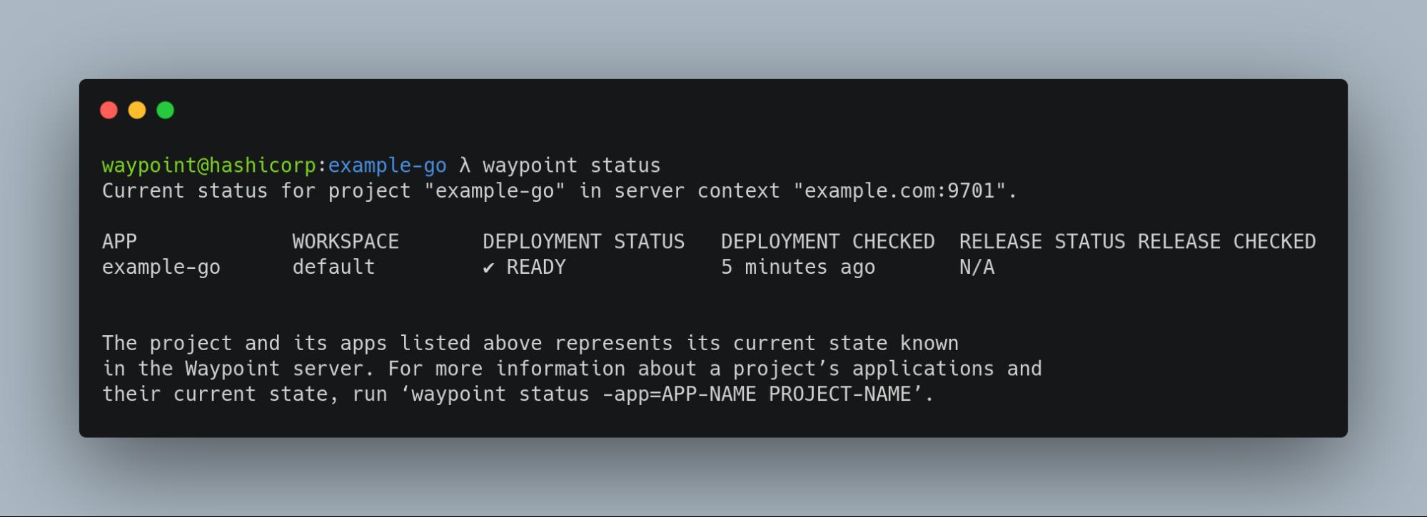 Waypoint status