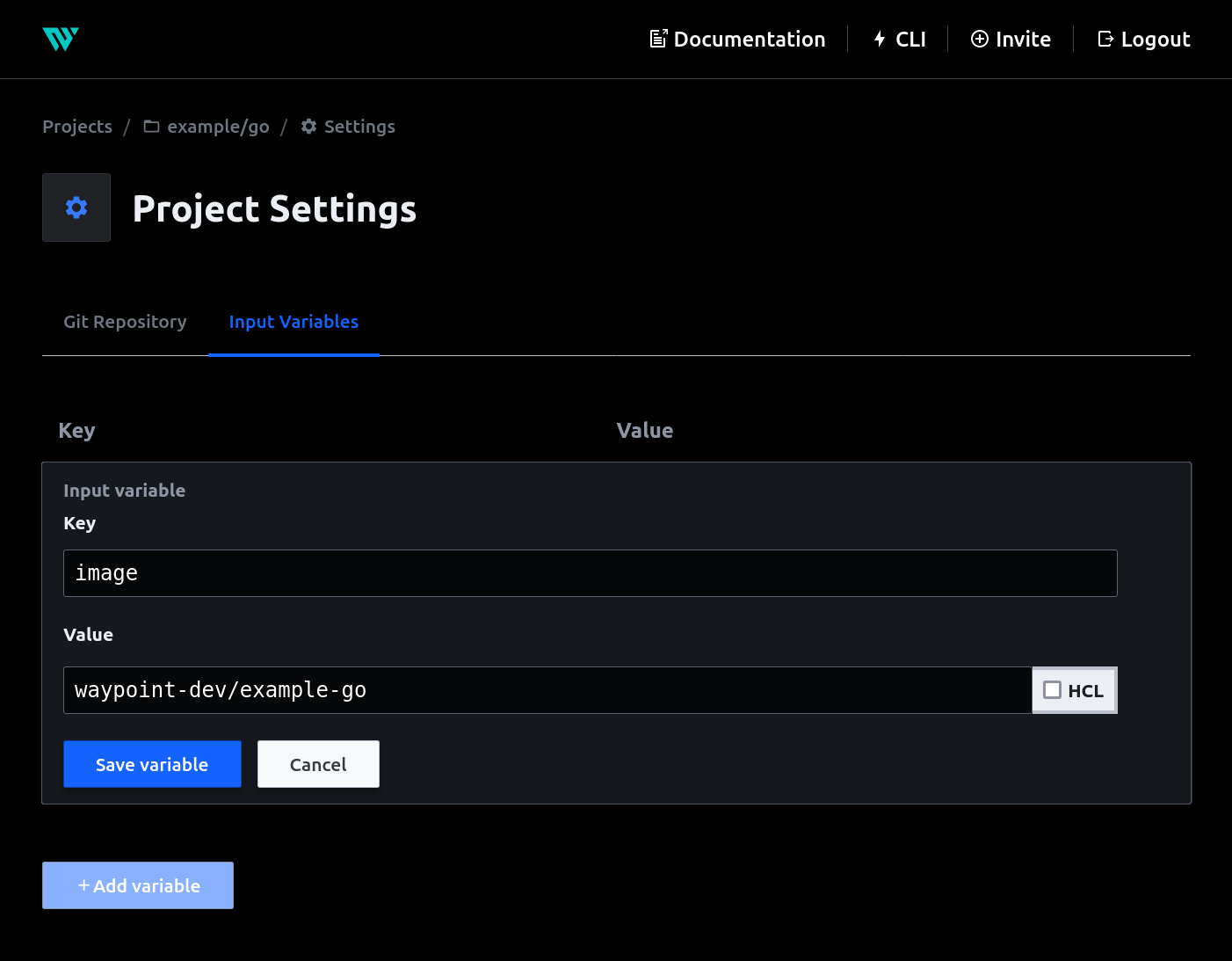 Input variables through Project Settings in Waypoint UI