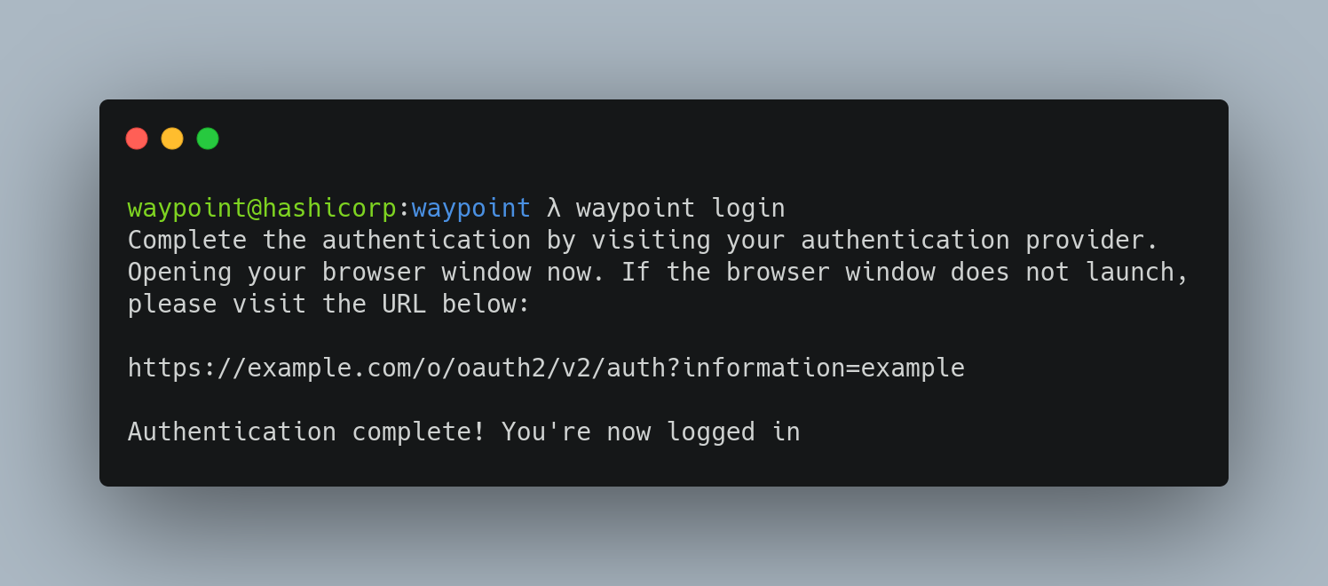 OIDC Authentication in Waypoint CLI
