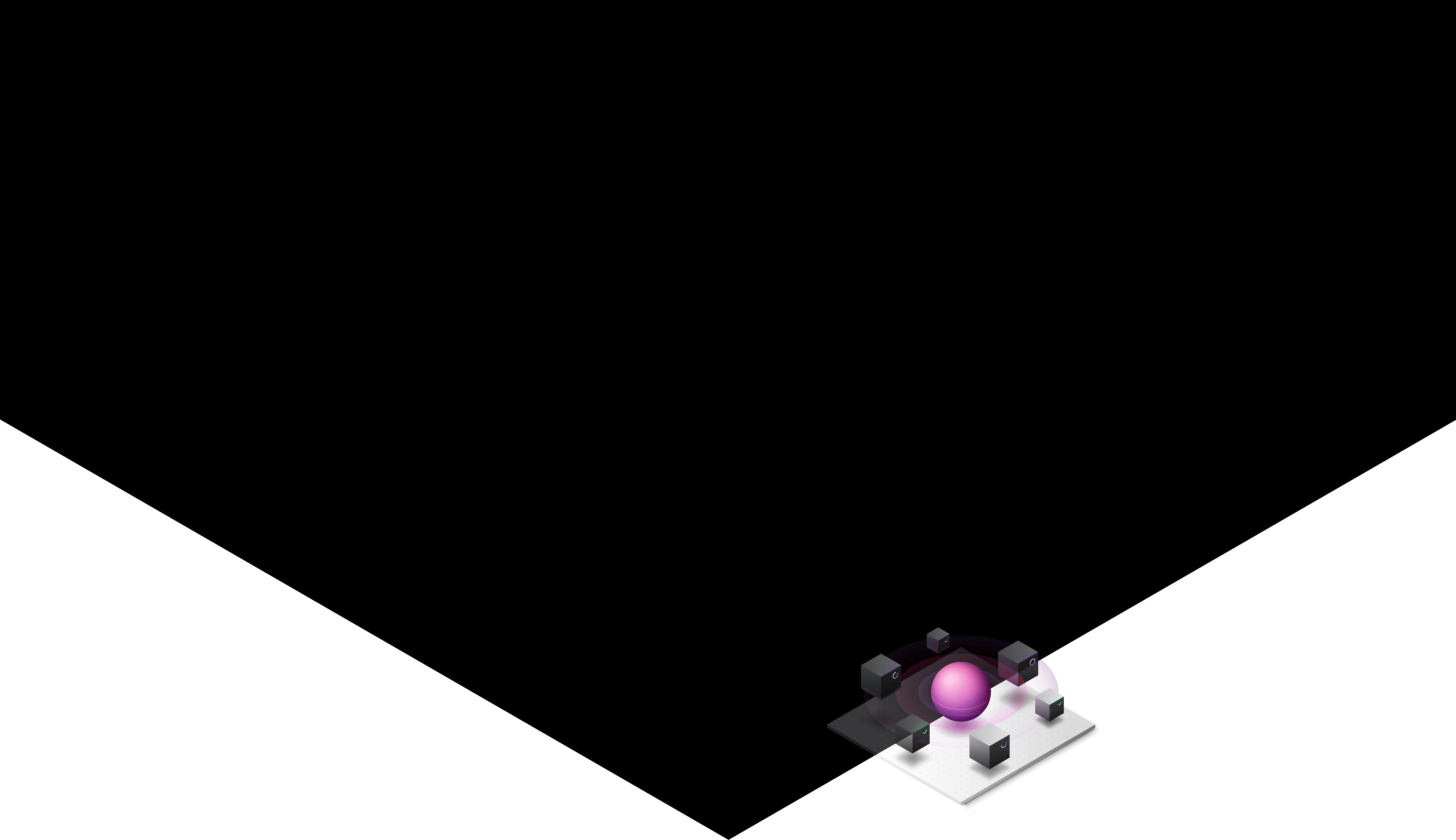 Background: black triangle with geometric automation diagram
