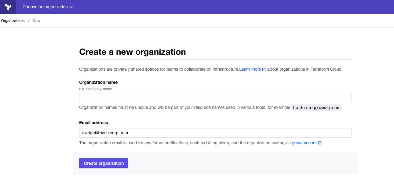 Create a new organization
