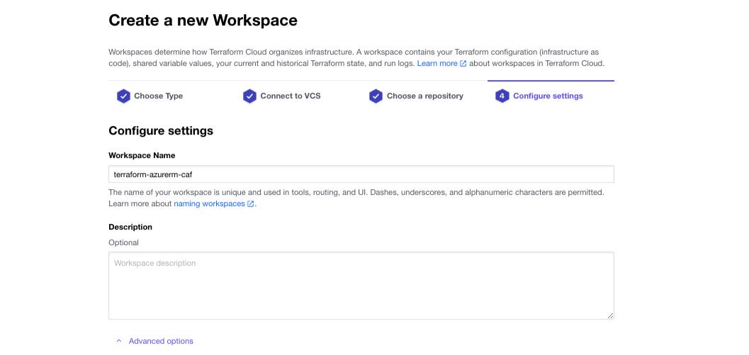 Create new workspace screen