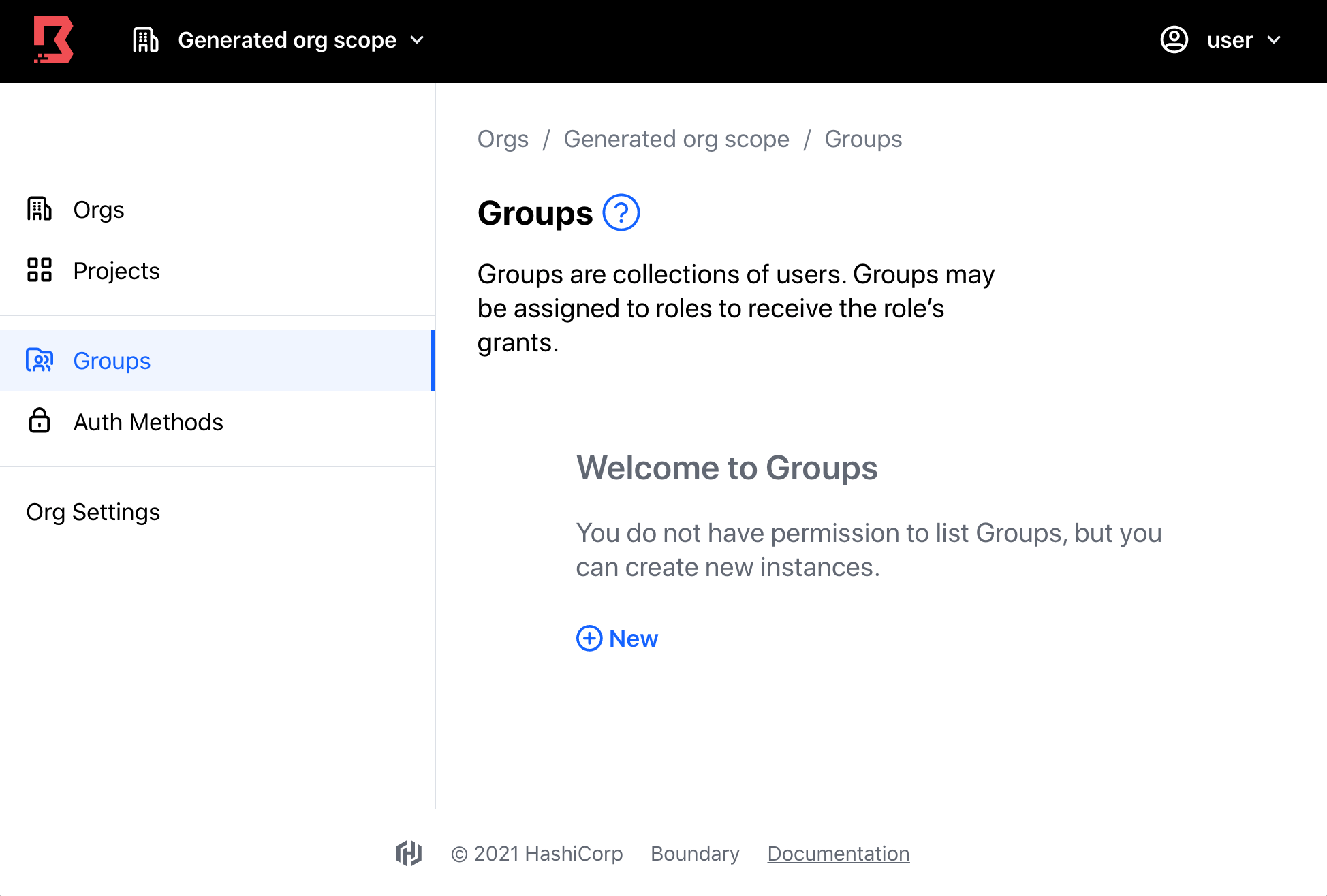 Permissions groups