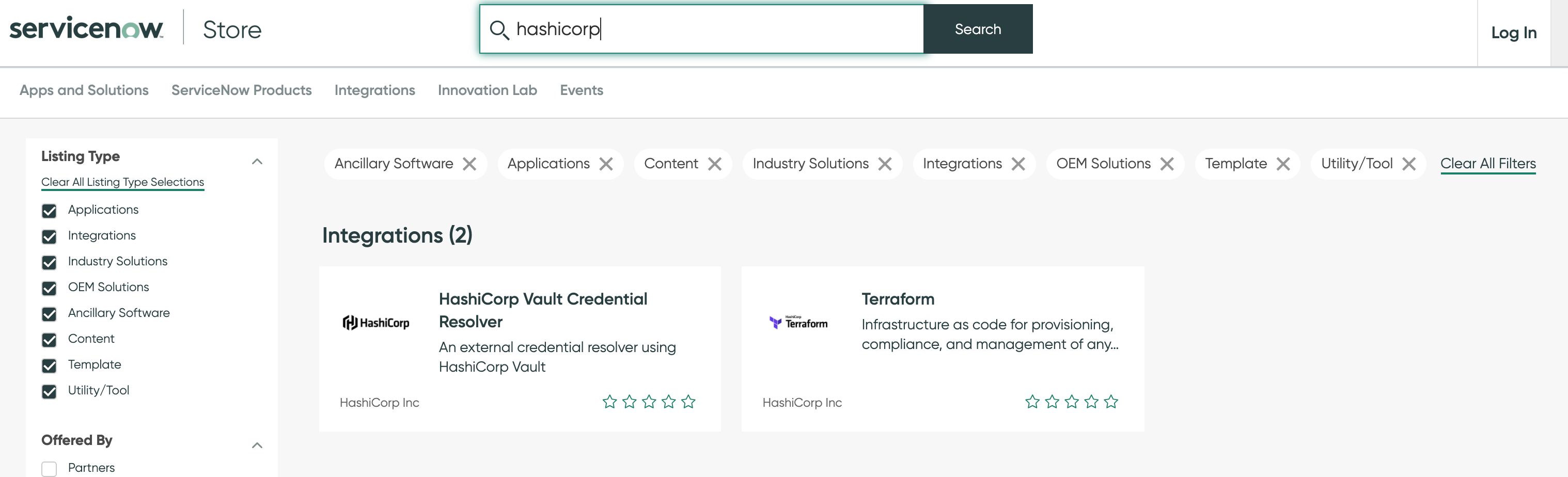 HashiCorp integrations in the ServiceNow store