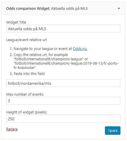 Utseendet på Widget som visar odds från MLS (i detta fallet)
