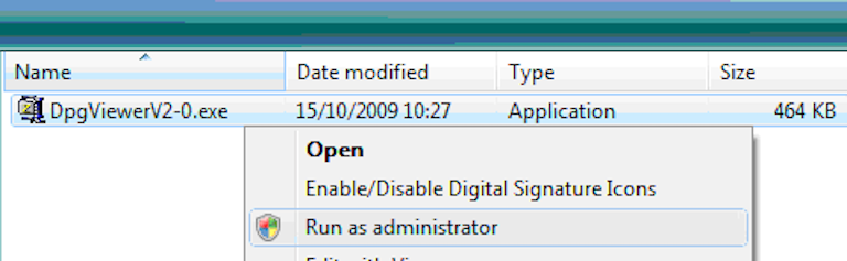 Windows file browser showing right click menu of DPGViewer installer, hovered over run as administrator