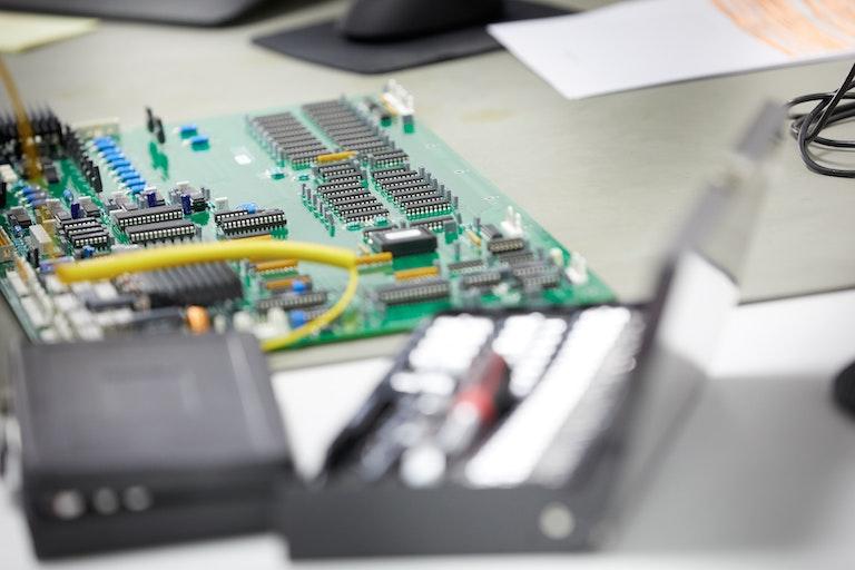 Circuit board on antistatic mat