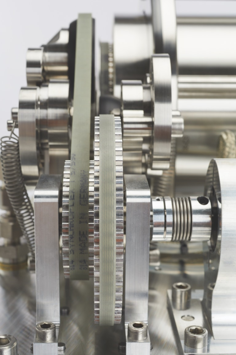 Close up of Cambustion CPMA drive belt and gears