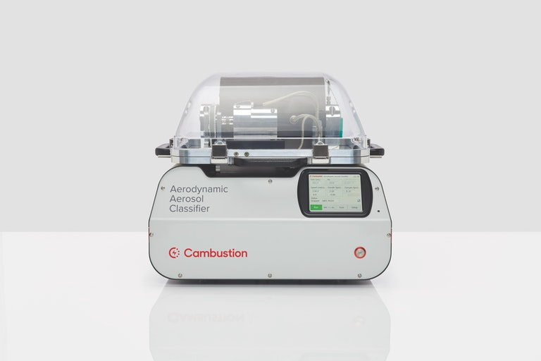 Cambustion AAC front view showing touchscreen, transparent top showing classifier