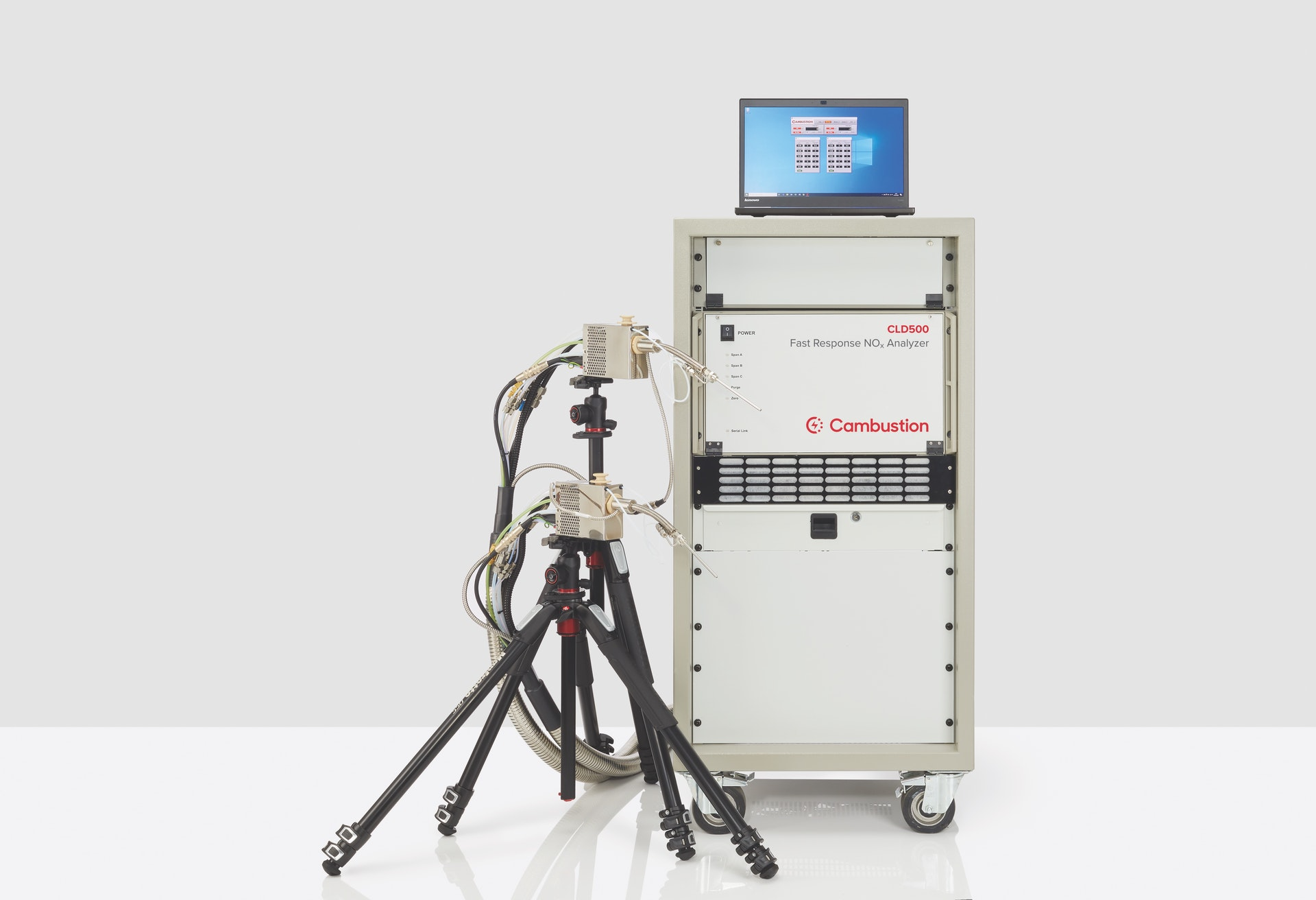 Cambustion CLD500 with two sample heads on tripods and laptop for instrument control