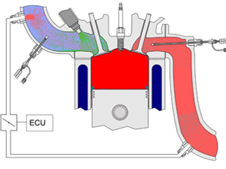 Cut-away view of engine cylinder and external EGR loop with intake & exhaust sampling points