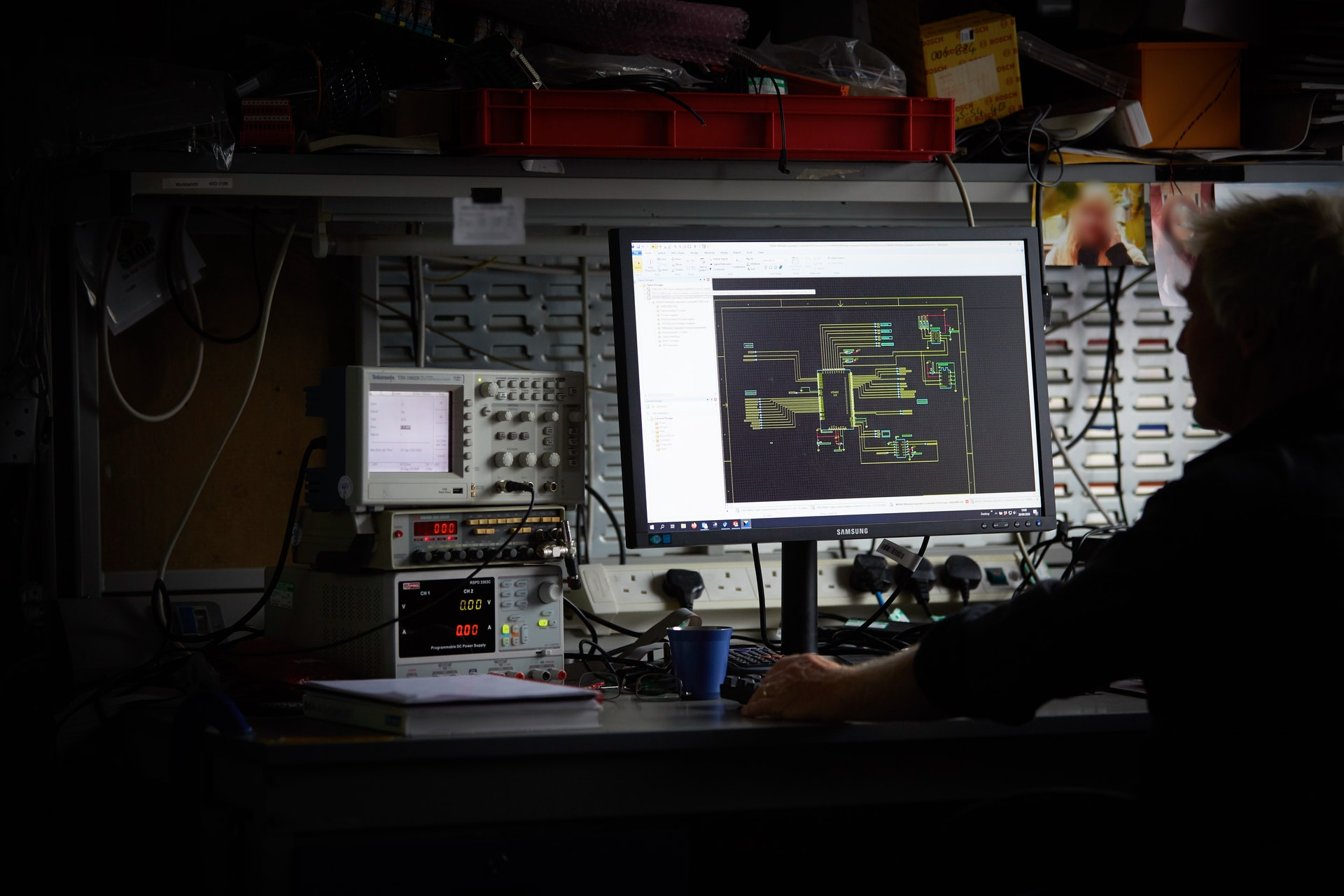 Cambustion engineer working on CAD PCB design