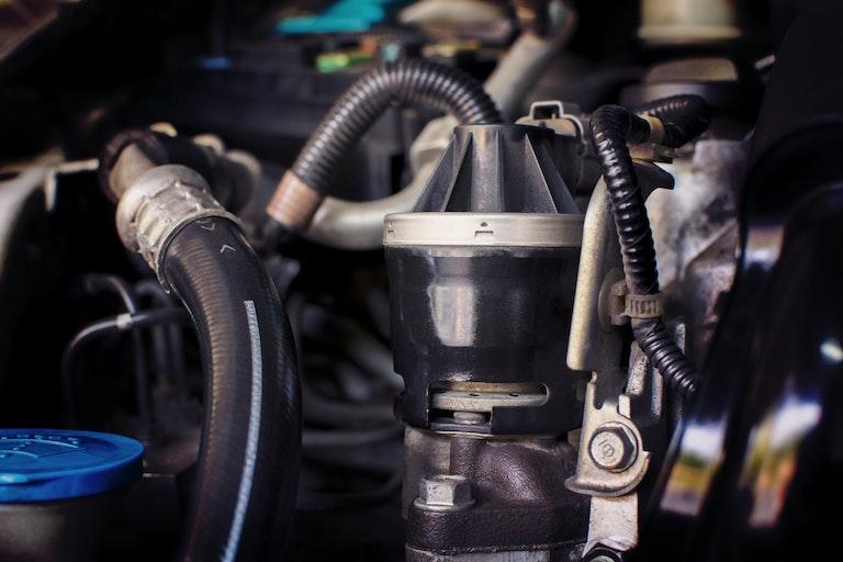 Close up of EGR / EGR valve  in engine bay