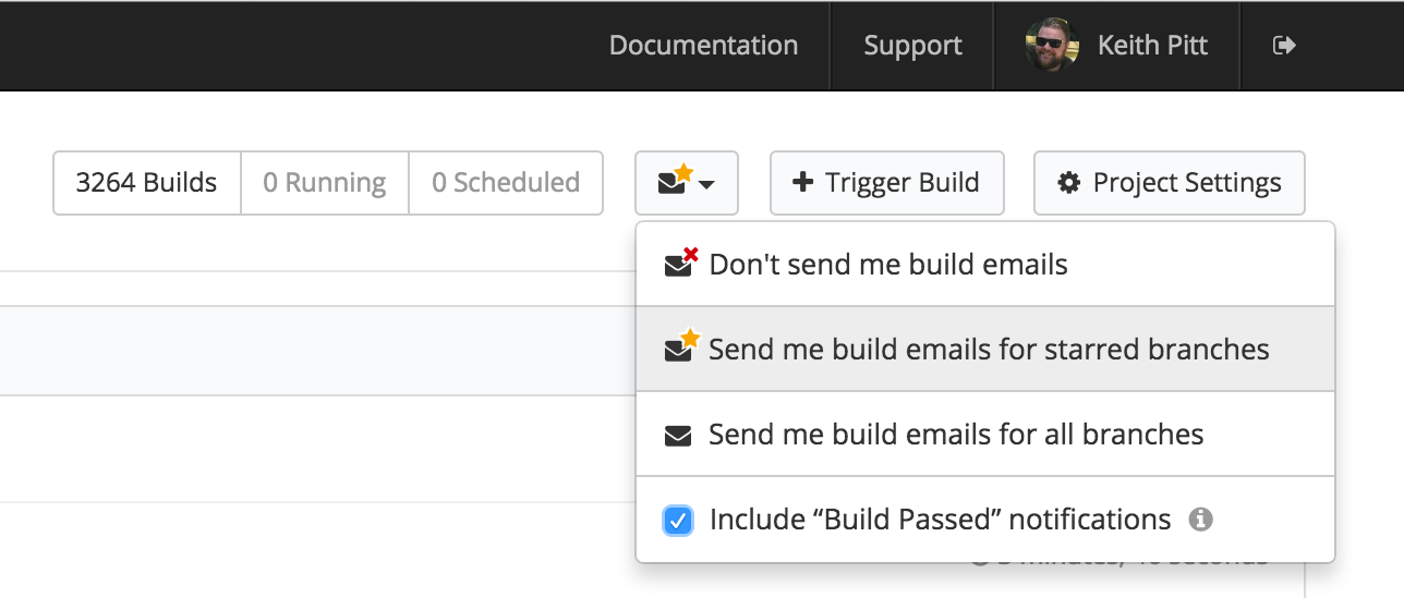 Buildkite project email settings dropdown