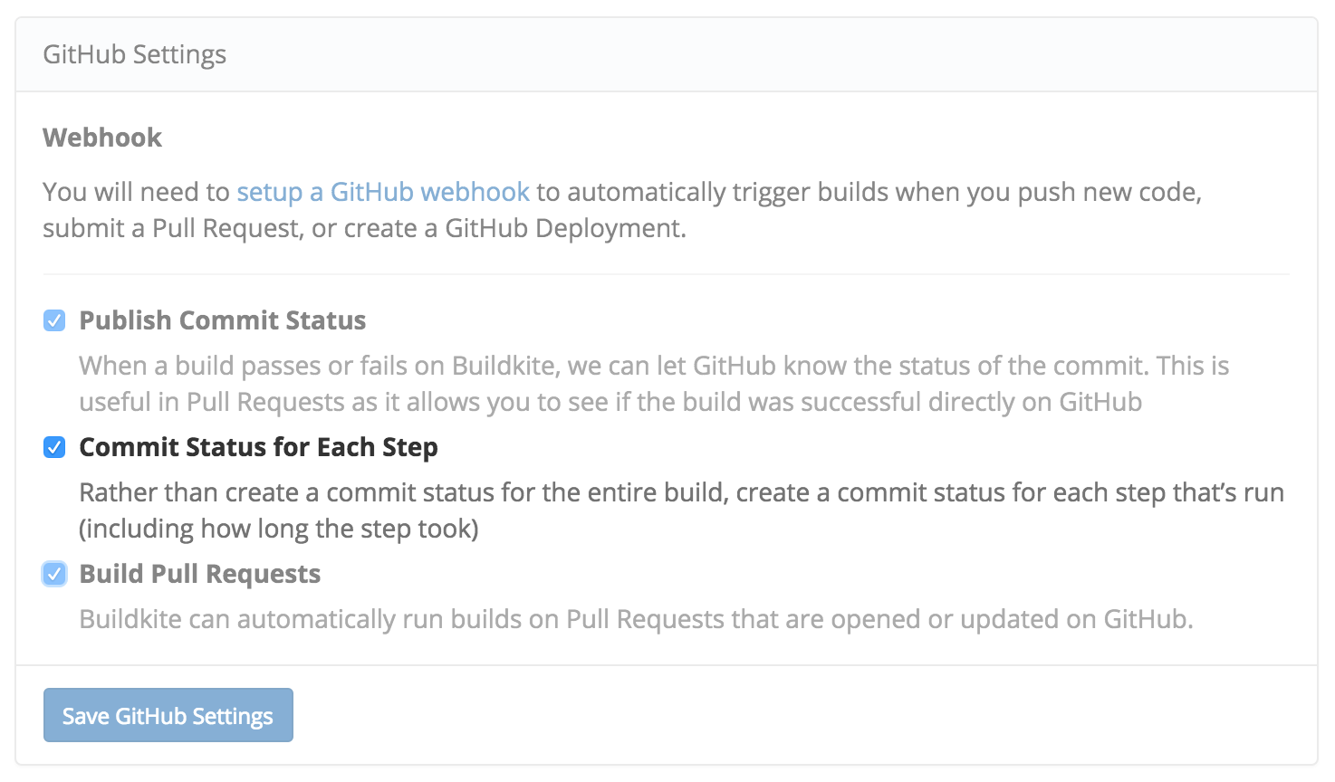 Per-Step GitHub Commit Statuses