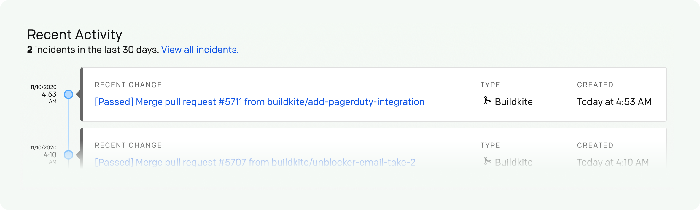 Screenshot of Buildkite builds within PagerDuty's Change Events page