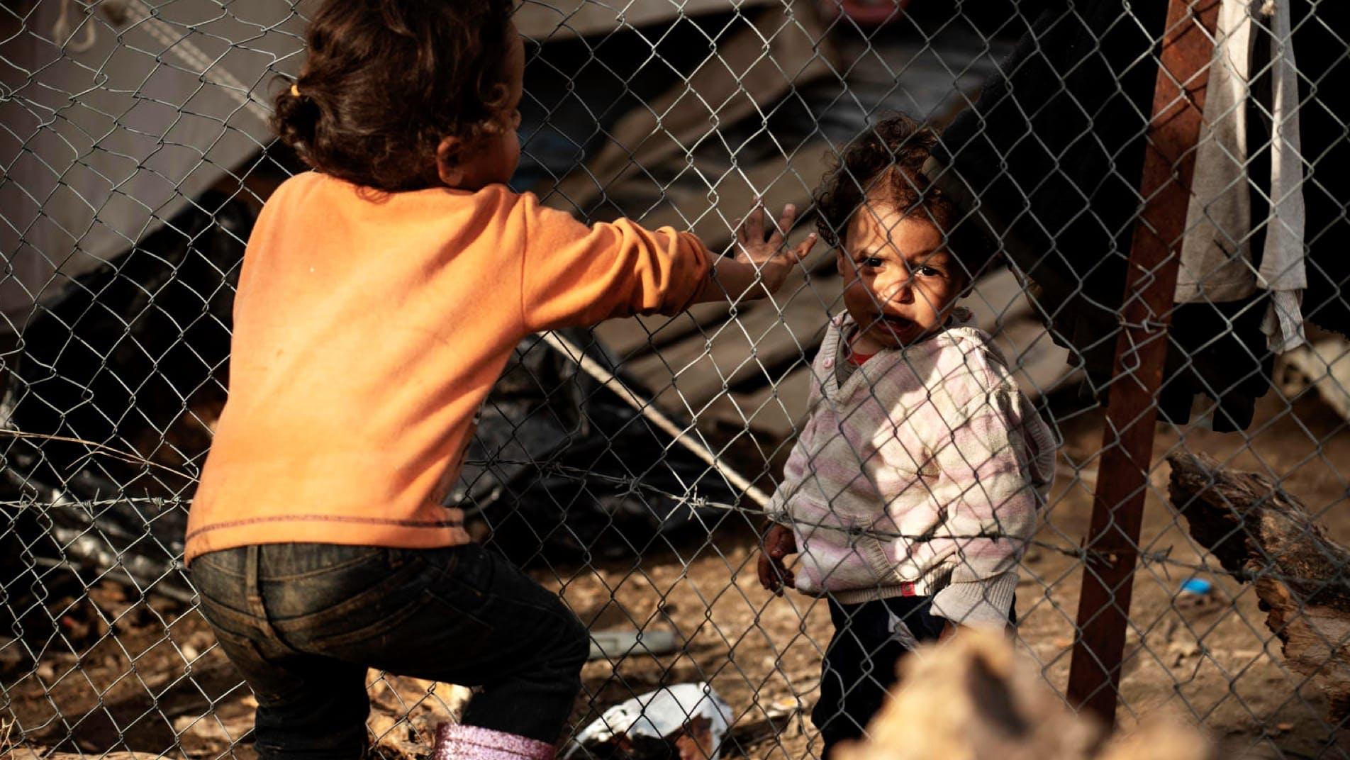 Bambini nel centro migranti di Moria, Lesbo, Grecia.