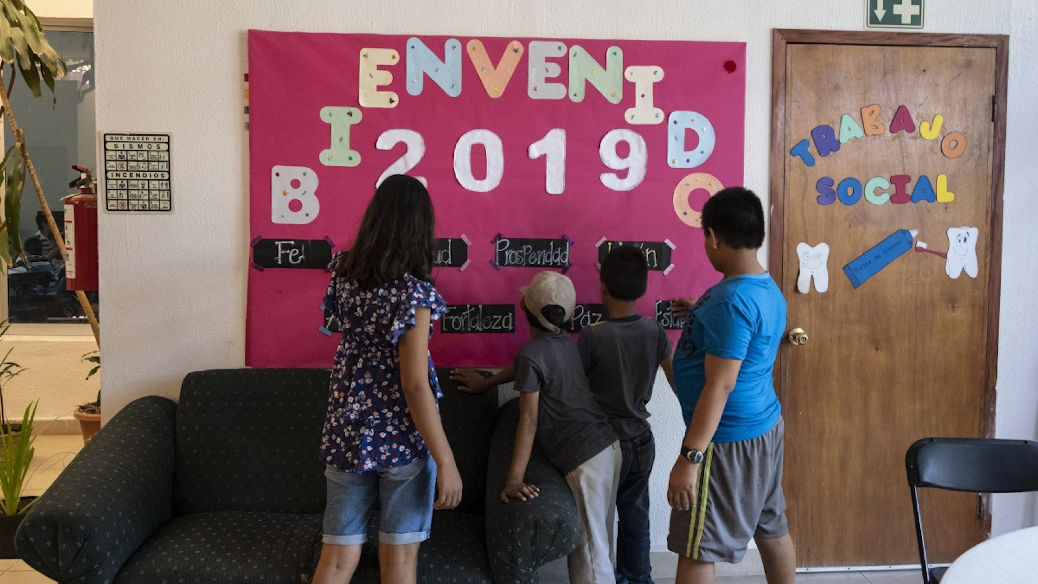 Messico,I bambini migranti giocano in un centro diurno per bambini sostenuto dall'UNICEF a Tapachula.