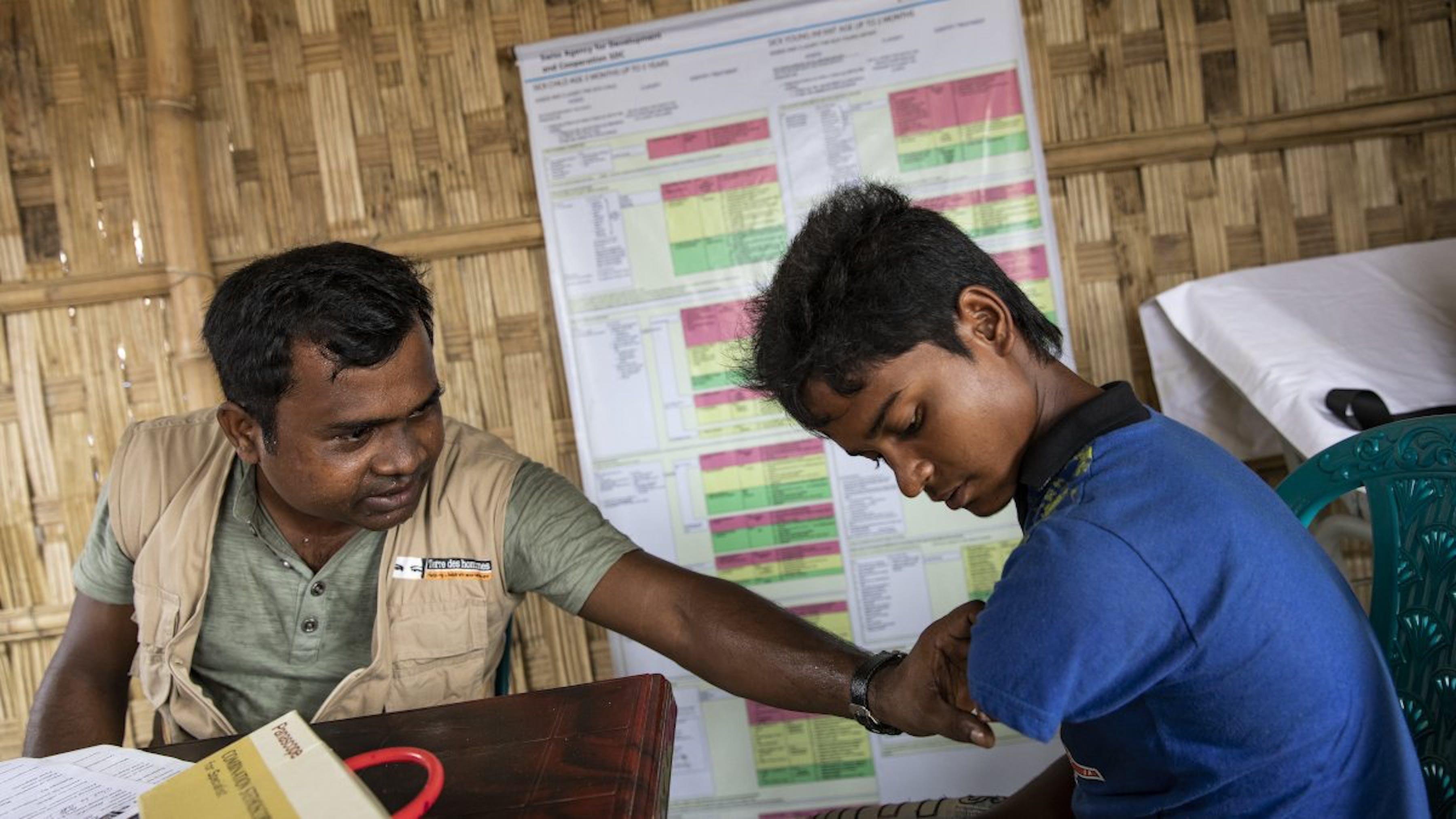 Bangladesh, un ragazzo senza un arto viene assistito nel campo di Cox's Bazar