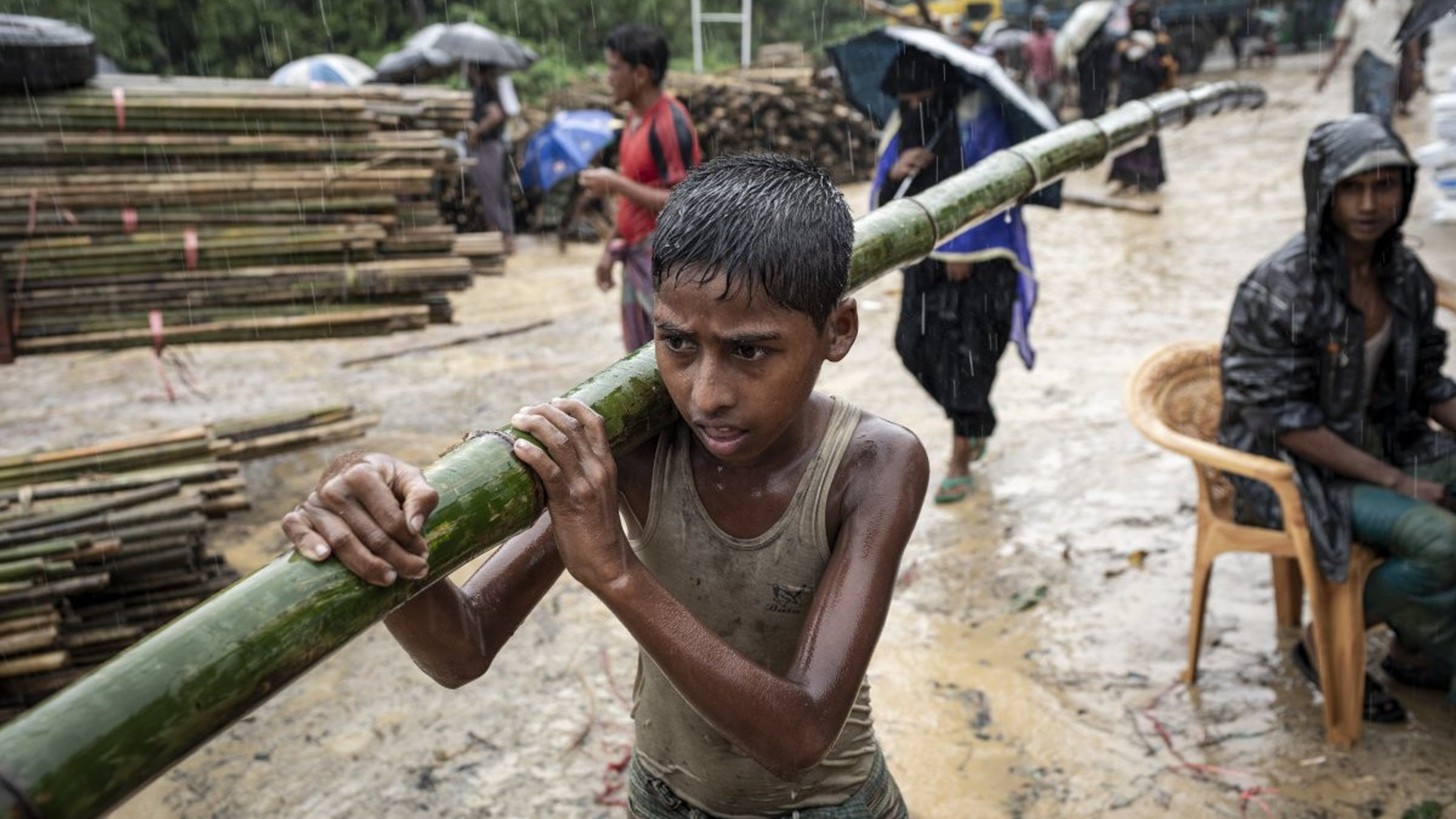Bangladesh, un ragazzo trasporta un palo di bambù