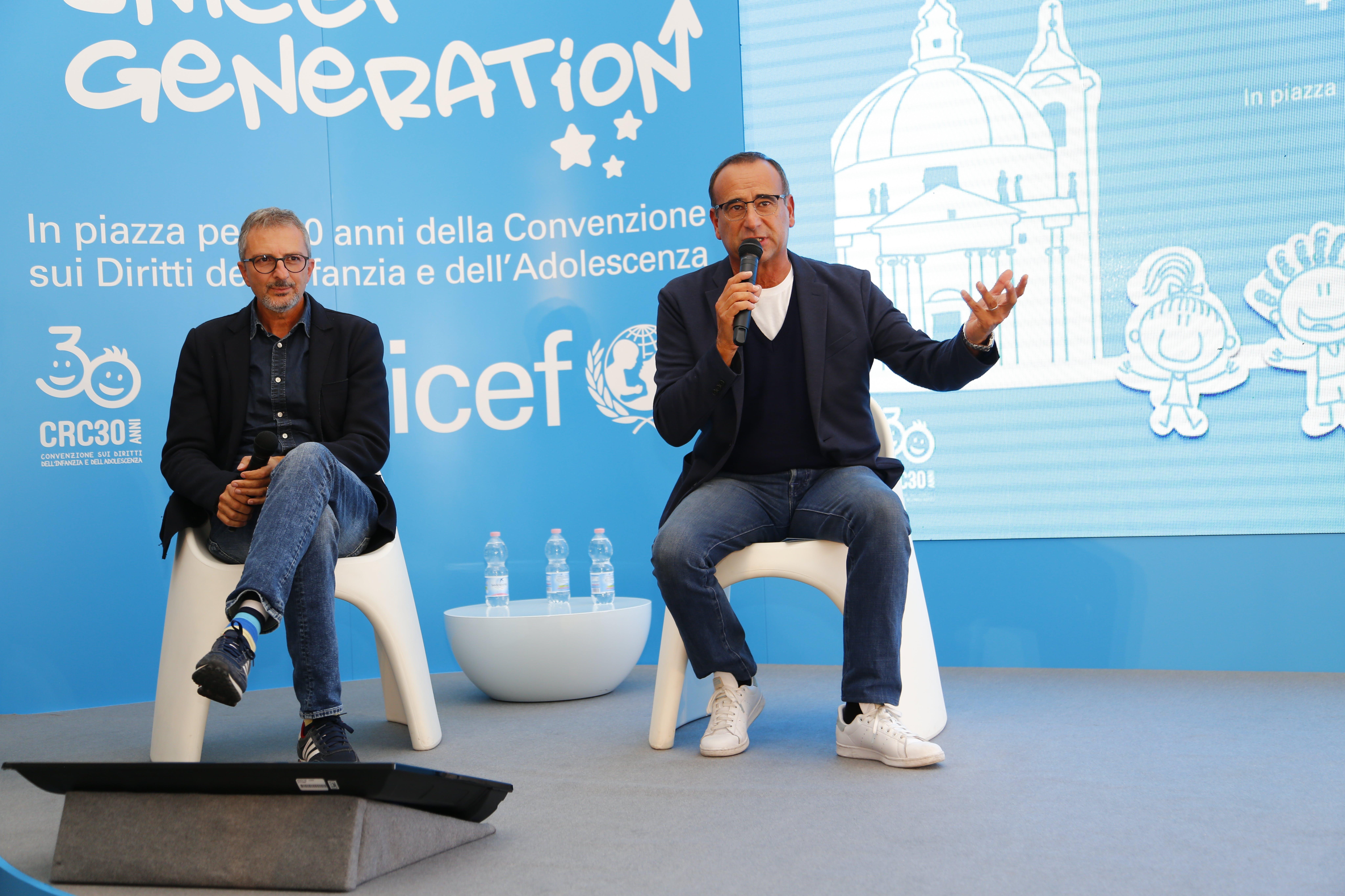 """Carlo Conti, testimonial UNICEF, interviene durnate l'evento """"UNICEF Generation"""""""