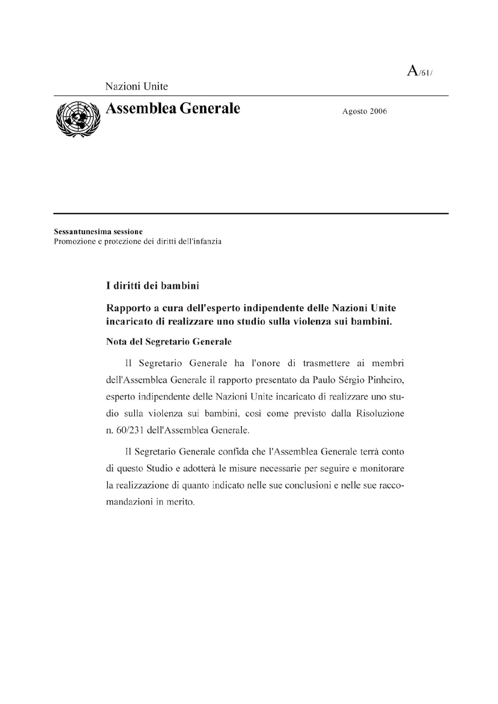 Rapporto ONU sulla violenza sui bambini