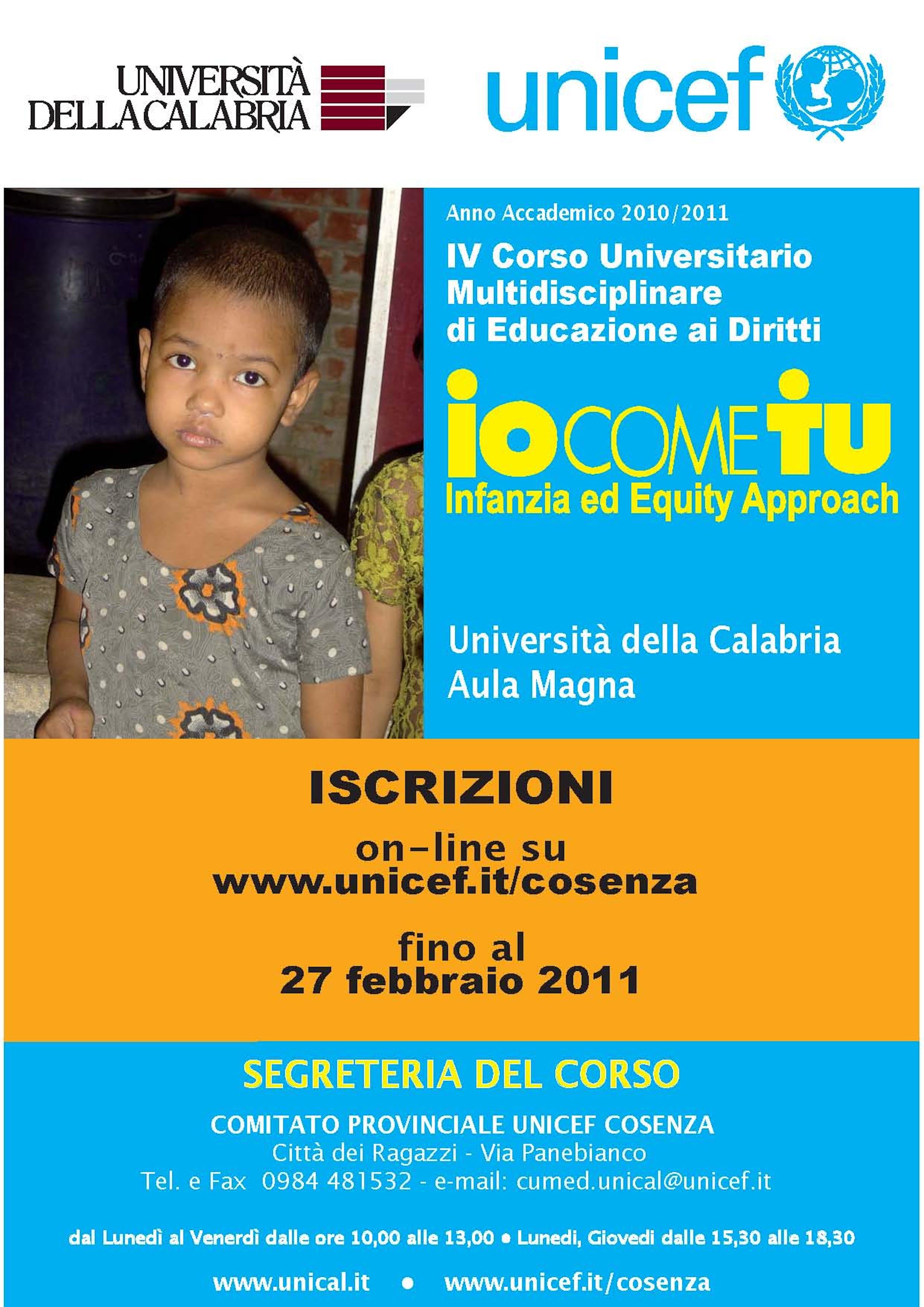 Corso UNICEF 2011 all'Università di Cosenza. Esito delle prove d'esame.