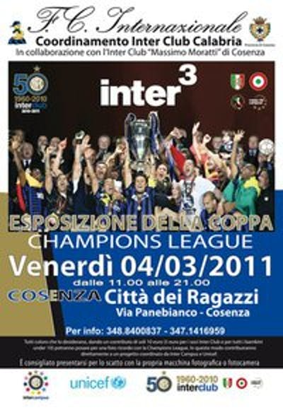 La Coppa dei Campioni dell'Inter fa tappa a Cosenza