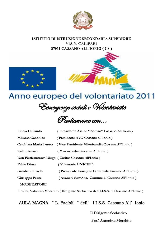 Cassano Ionio celebra l'anno europeo del volontariato