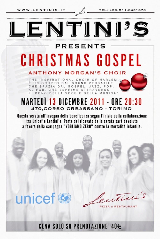 Lentini's per UNICEF, cena con coro Gospel a Torino