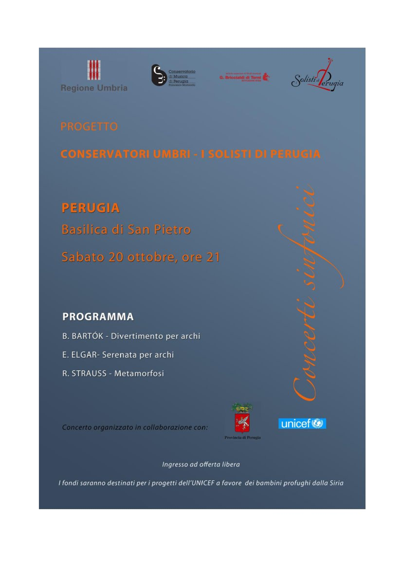 A Perugia un concerto per i bambini della Siria