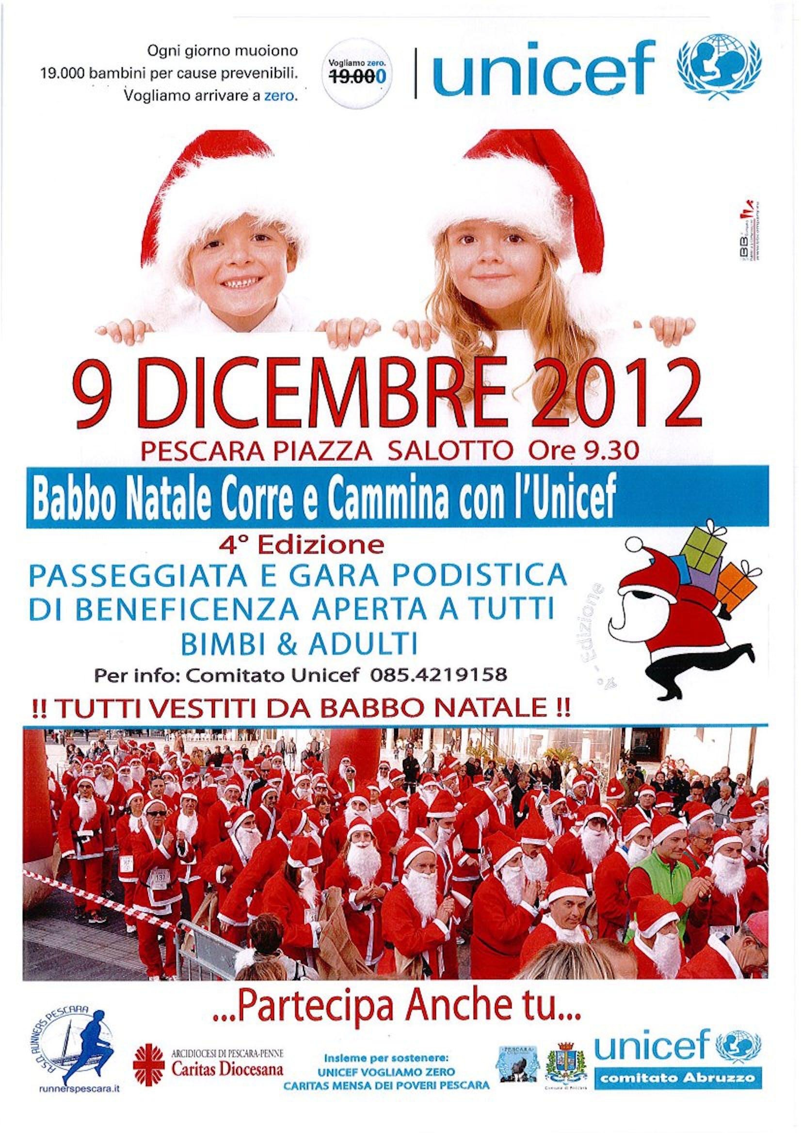 A Pescara, Babbo Natale corre e cammina con l'UNICEF