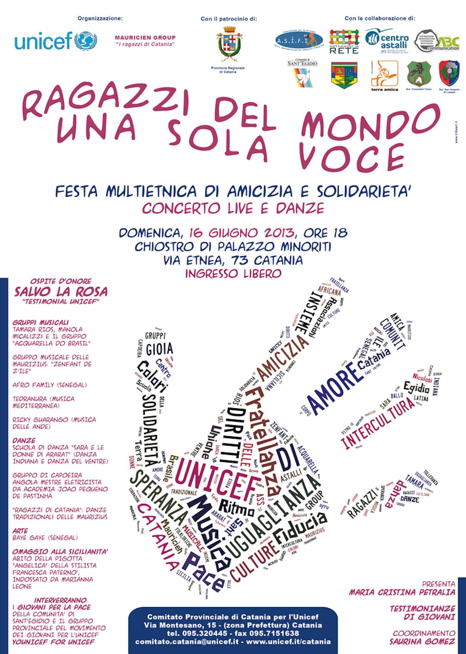 A Catania la Festa di amicizia e solidarietà promossa da UNICEF