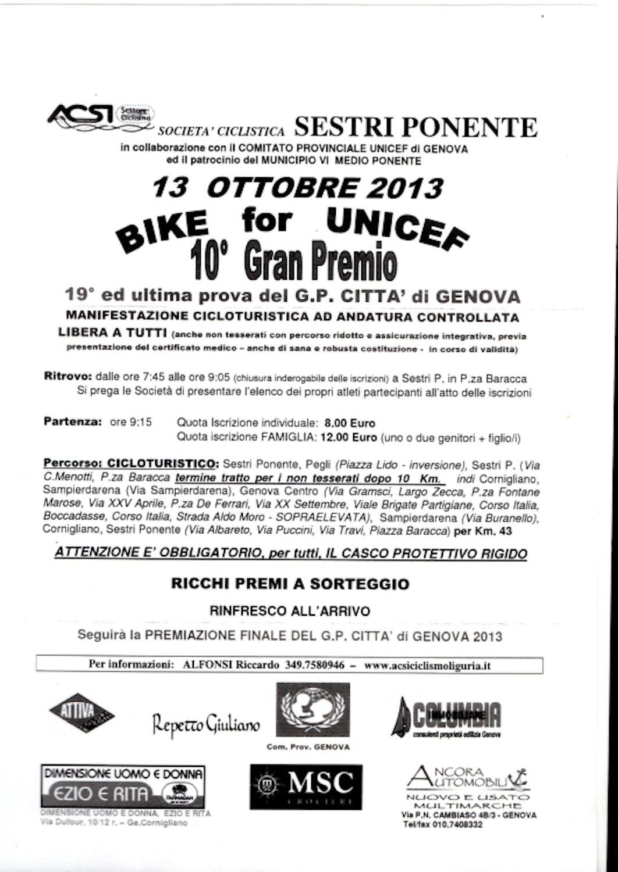 Genova: decima edizione per il Bike for UNICEF