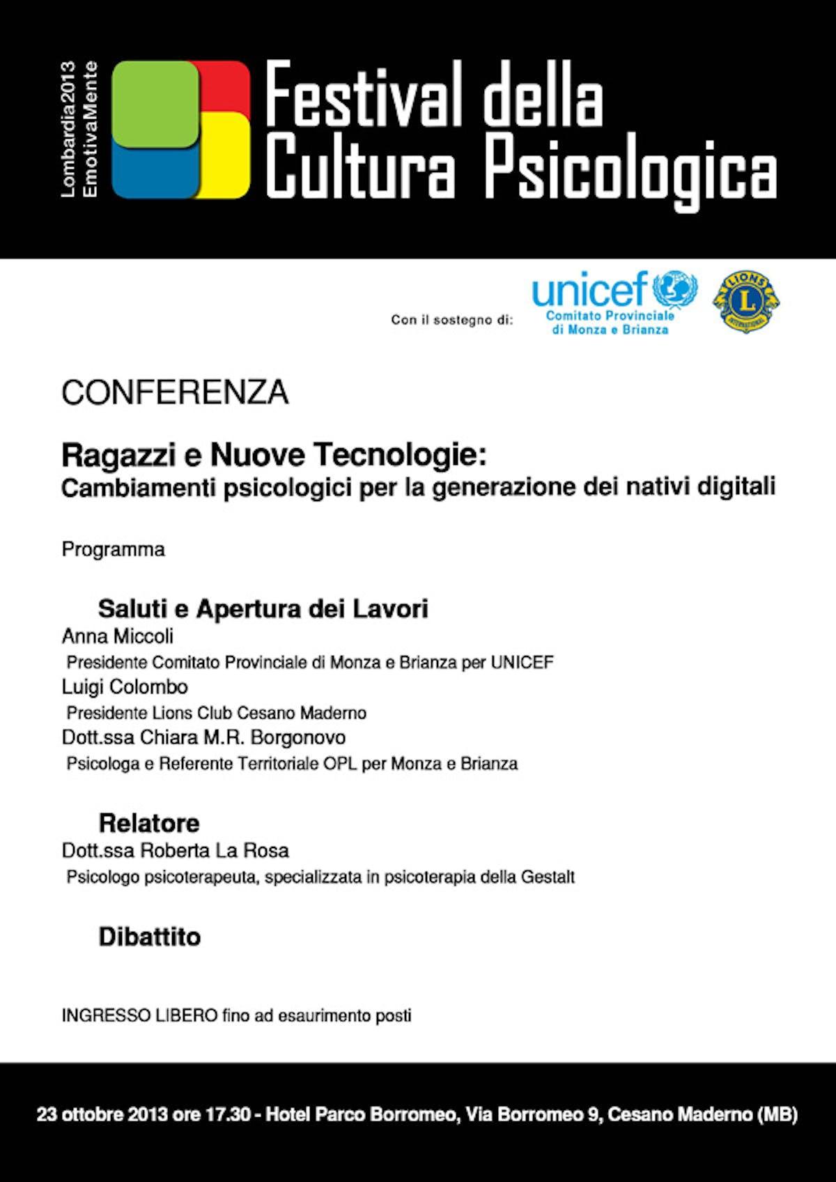 A Monza il Festival della Cultura Psicologica si apre con l'UNICEF