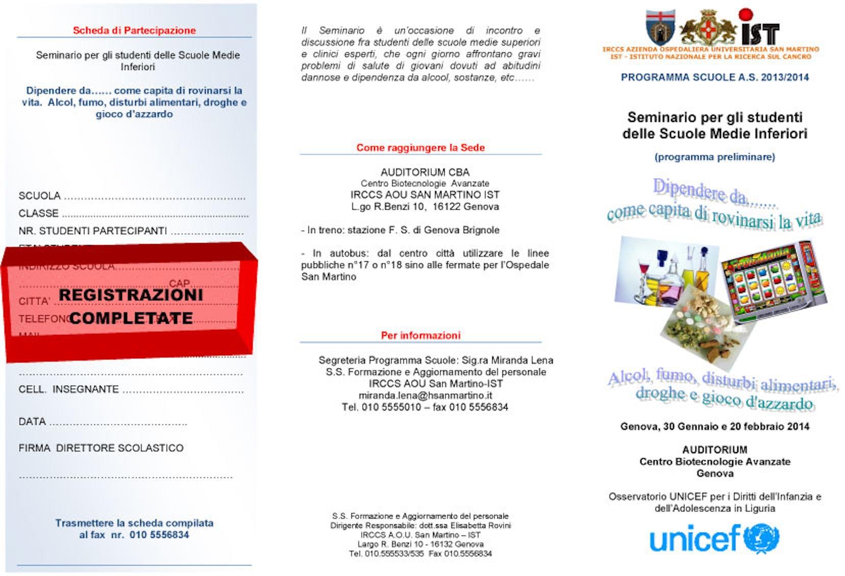 Genova: riproposto il seminario sull'educazione alla salute per minori