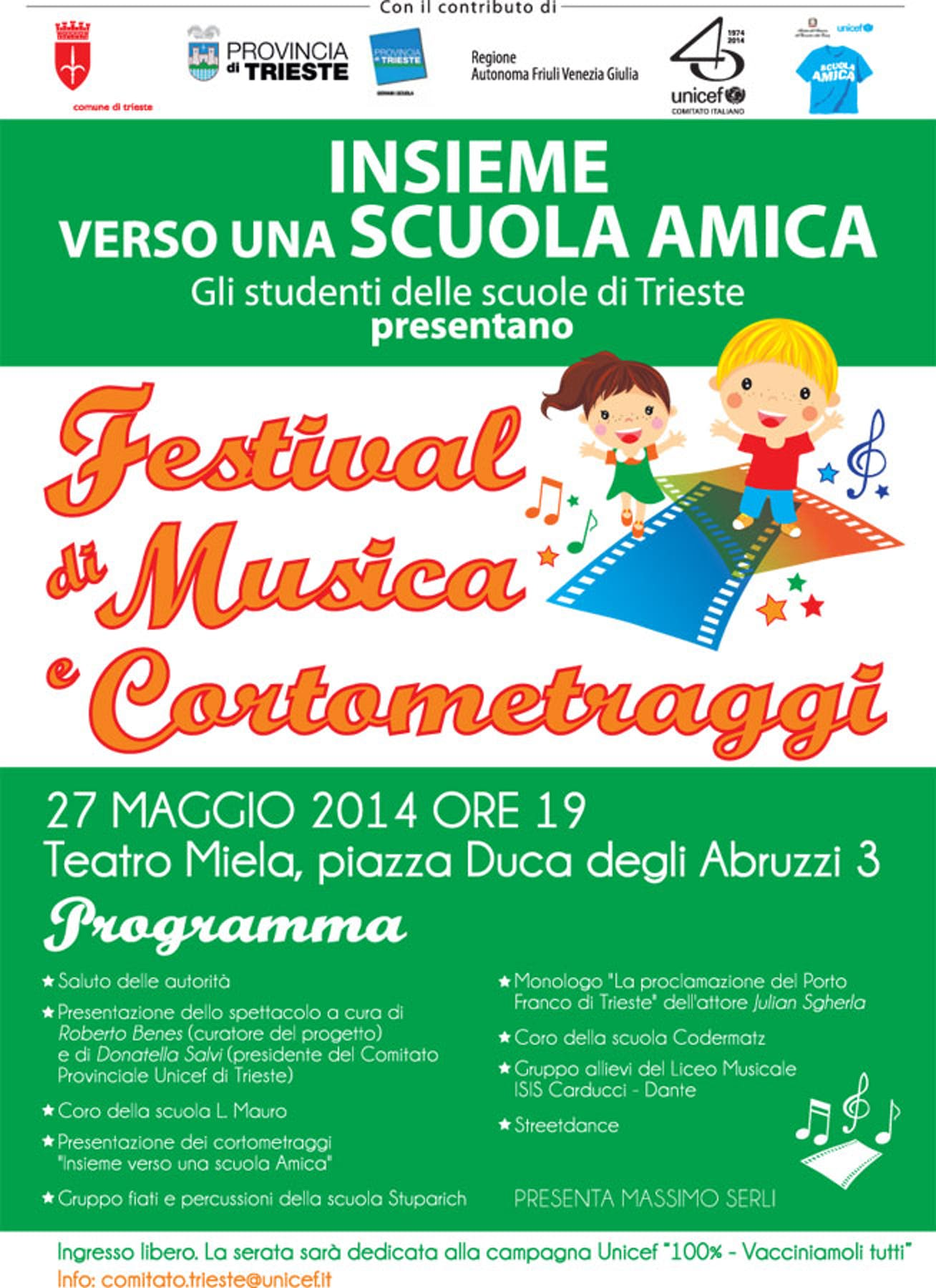 Trieste: tutto pronto per lo spettacolo delle Scuole Amiche UNICEF