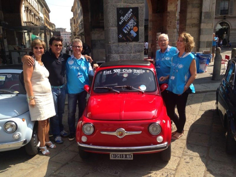Al GP di Monza il Fiat Club 500 porta la bandiera UNICEF