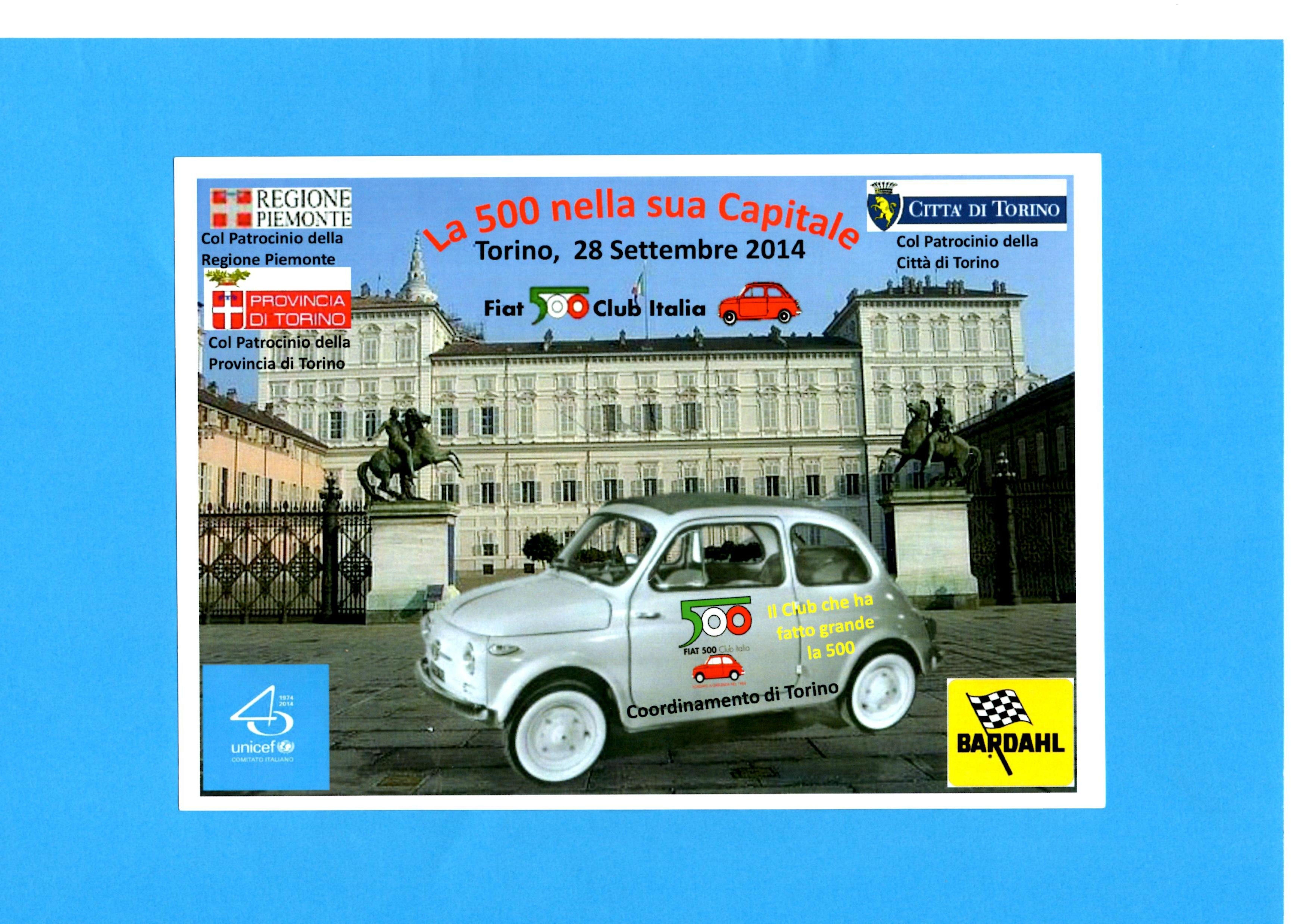 Raduni Fiat 500 Club Italia a Torino e provincia per sostenere UNICEF