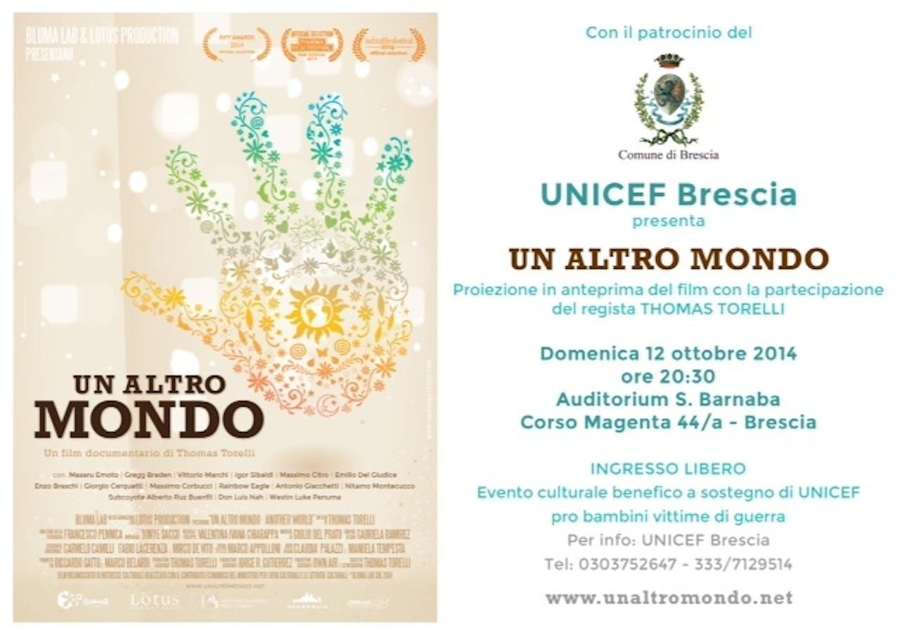 Presentato a Brescia il film a sostegno di UNICEF, Un altro mondo